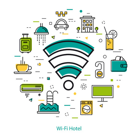Vector round web banner of best hotel with wi fi free spot. Modern thin line icons in three colors. Wireless sign and pictographs of hotel service, communications, coffee, payment and room accessories