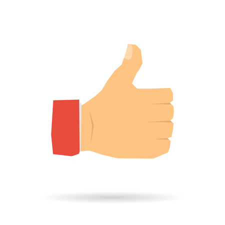 Vector icon of hand with a raised thumb isolated on white background. Symbol - I like it