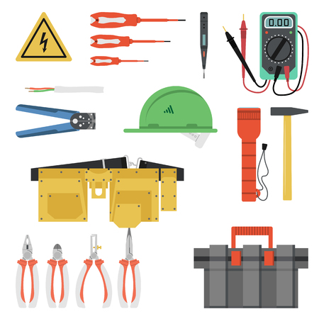 plug hat: Vector electrician Tool Flat Set isolated on white background. Yellow hard hat, tool belt and box and many special professional devices