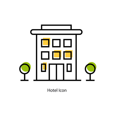 mini bar: Vector linear icon - Hotel building with green trees on the sides