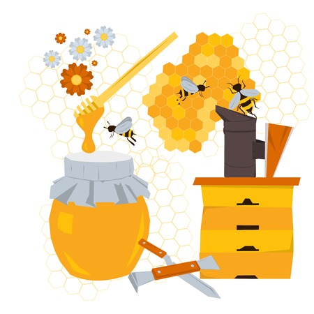 beeswax: Vector beekeeping concept with products and equipment. Wooden hive, honey, bees on flowers, tools beekeeper, honeycomb n flat style isolated on white background