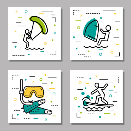 flippers: Vector four square summer water activity linear icons with additional elements. Windsurfing, kite surfing, man on a board on the waves and mask with tube and flippers for diving