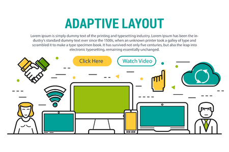 smart: Vector header template of adaptive layout for web site on different monitors. First screen of web page with caption, two buttons and computer, laptop, tablet and smart phone, programmer and user icons