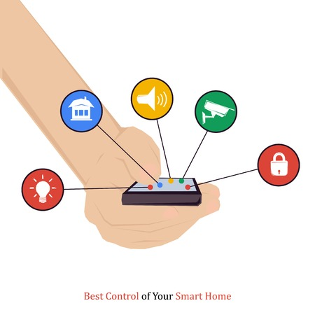Vector concept - best control of your smart home. Modern technology system with centralized control in flat style. Hand with five buttons on white background Illustration