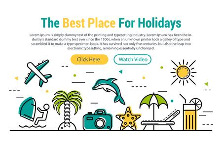 sun: Vector header template of summer vacation. Illustration