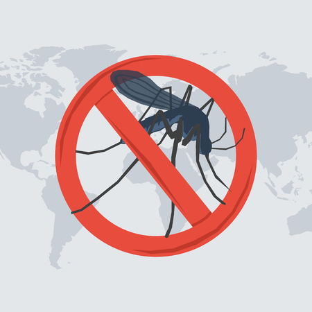 Vector illustration of danger from a insect bite. Mosquito in the prohibitory sign on map of the world in flat style Illustration