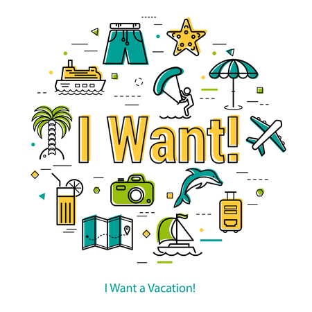 sun: Vector concept of i want summer vacation. Illustration