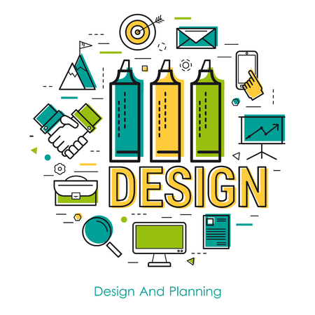 Vector round concept of Design And Planning in thin line style. Letters and three markers and office items and icons