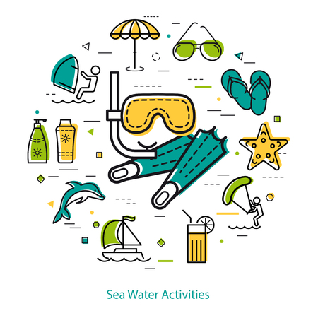 flippers: Vector round linear concept of summertime vacation. Mask and flippers in center and dolphin, starfish, sunglasses, yacht, surfing and beach umbrella icons