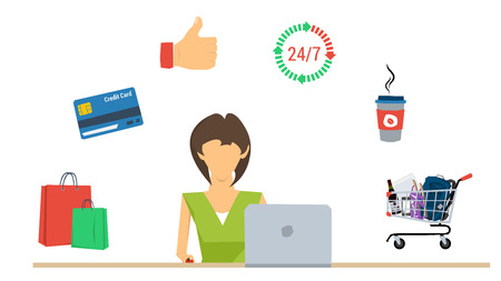 Vector concept of woman shopping with laptop. Cup of coffee, credit cart, shopping bags and like hand sign in flat style Illustration