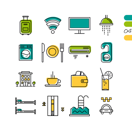breakfast in bed: Vector set of hotel service colored linear icons. Building, breakfast, TV, payment and elevator and pool. The fourth series of symbols Illustration