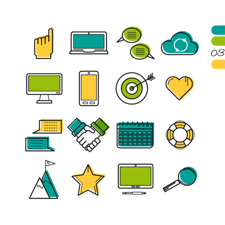 smart: Vector colored thin line computer icons. Use for web design. Gadgets, hands, target and online storage cloud isolated on white. The third series of symbols