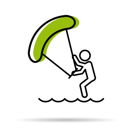 kite surfing: Vector linear icon - man with kitesurfing sea entertaiment isolated on white background
