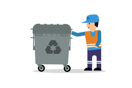 Vector flat illustration worker of cleaning service and garbage container isolated on white Illustration
