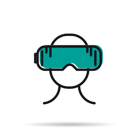 Vector line icon - man with virtual reality mask Stock Photo