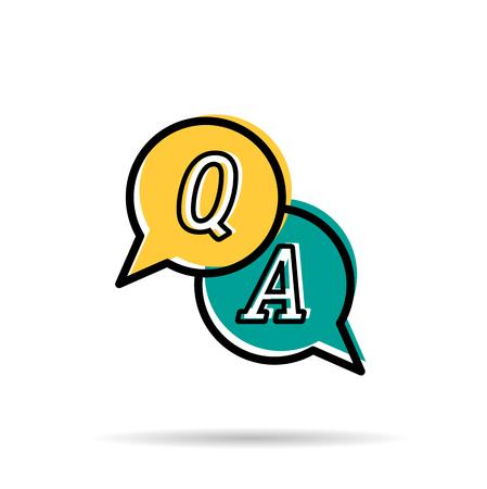 ベクター線のアイコン - 質問と回答。黄色と青の二つ丸い気泡 Q の文字と白い背景に分離された A. 現代線形スタイル