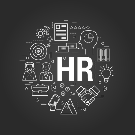 Vector Round Concept of Human Resource - letters HR. Linear banner on a black chalkboard Illustration
