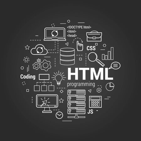 Vector Line Art Concept of html. Round banner for coding and web programming on a black chalkboard