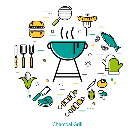 Vector round linear concept of rest with barbecue. Blue grill stand with smoke lines and other - hamburger, vegetables, sausage, corn Illustration