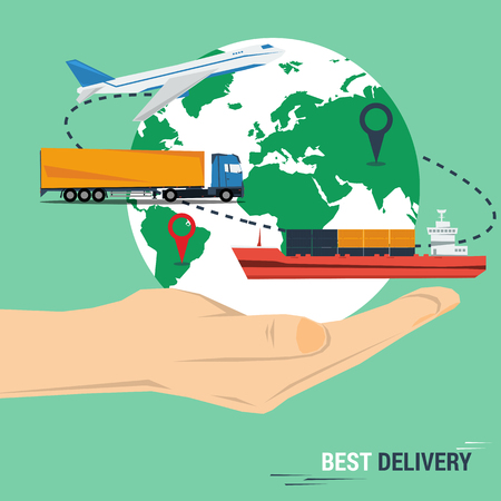 Vector concept best delivery service. Planet with modes of transport on the outstretched hand in flat style. Sea transport, cargo and air