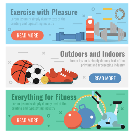 sport mats: Vector horizontal three banners for fitness sport in flat style with button and text. Exercise with pleasure, outdoors recreation and necessary equipment for fitness on colored backgrounds