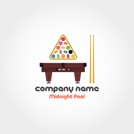 pastime: Vector isolated illustration of billiard table, set of balls and cues with text for company name and slogan. Can be used for logo
