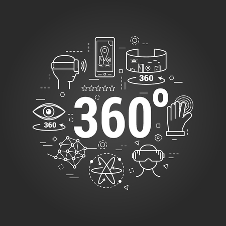 Vector round concept of Virtual Reality 360 degree overview entertainment. Innovations technology in thin line style on a black chalkboard