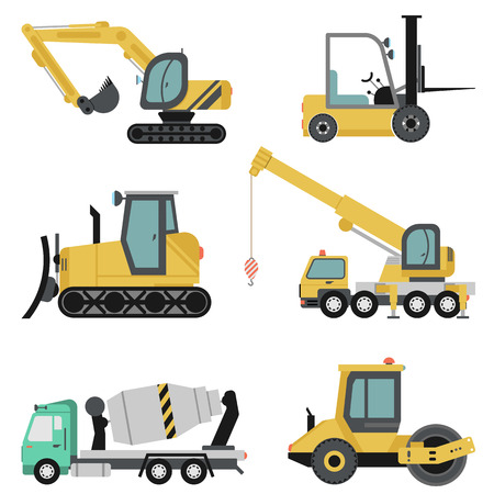 Vector set of heavy construction machinery icon in flat style. Isoleted on white illustration