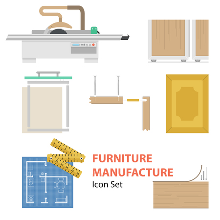 joining: Vector furniture manufacture flat set. Infographics of process of production cabinet furniture isolated on white background