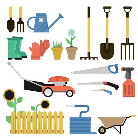 Vector flat set of gardener tools and equipment isolated on white