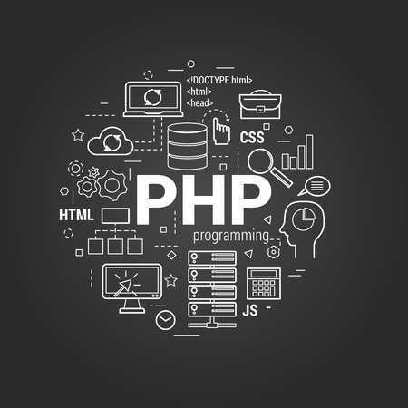 Vector Line Art Concept of Hypertext Preprocessor -PHP. Round banner for web resources and programming on a black chalkboard