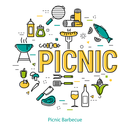 Round linear concept of rest with barbecue. Yellow letters PICNIC and many different grill icons isolated on white background Stock Vector - 80092316