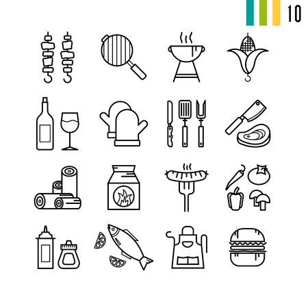 sixteen: Vector outline set of BBQ grill icons. Sixteen pictograms for summer nature picnic on white background