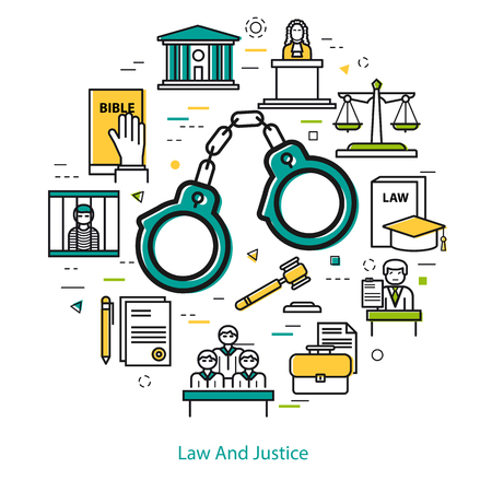 jail: Vector round web banner of judiciary service. Modern thin line icons in three colors. Handcuffs and legal icons of documentation, court, attorney, jury and prison Illustration