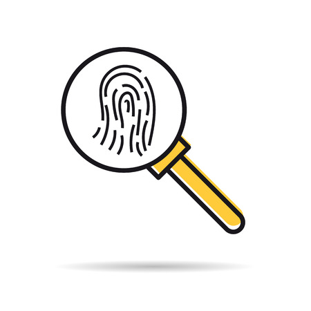 A Vector linear icon - fingerprint research. Magnifier glass isolated pictogram. Illustration