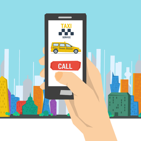 A Vector illustration of mobile taxi order. Hand with smart phone making call to transportation service on colored city background in flat style.