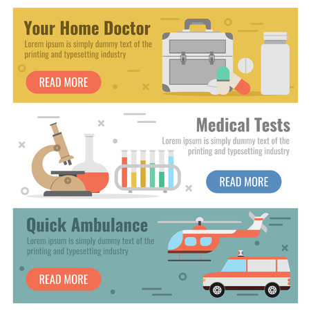 promptly: Vector horizontal three banners for medical help in flat style with buttons. Your home doctor, medical tests and quick ambulance as captions on colored backgrounds