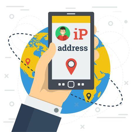 Ilustración del vector. Mano de hombre de negocios con teléfono inteligente y cambia la dirección IP entre dos puntos en el mapa mundial