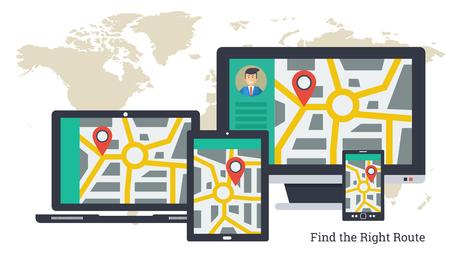 Vektor-Illustration. Stadtplan mit Zeiger und Reiseroute auf Varios Computern. Verfolgung der Ladung, finden Sie die richtige Route per Computer, Laptop, Tablet und Smartphone. Horizontale Web-Banner in flachen Stil Vektorgrafik