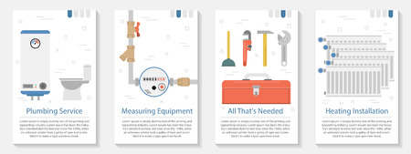 Vector vertical four banners on white background for plumber set. Illustration