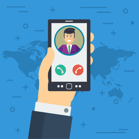 using smartphone: Vector illustration. Businessman hand accepts the phone call. Finger, avatar and two buttons in flat style. Square web banner