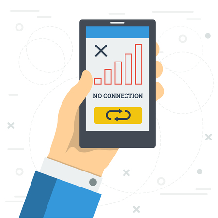 Vector square illustration - NO CONNECTION of mobile. Hand with smart phone in zone without cellular coverage and the reset button on monitor