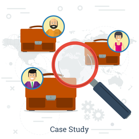 Vector illustration of three person in world with portfolio and magnifier. Concept of case study in flat style