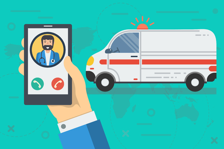 Vector medical illustration of emergency call. Ambulance and hand with phone calls doctor in flat style Ilustração