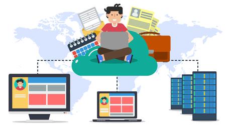 다양한 데이터와 사용자가 서버, 컴퓨터, 랩탑에 플랫 스타일로 연결된 온라인 클라우드에 앉아 있습니다.