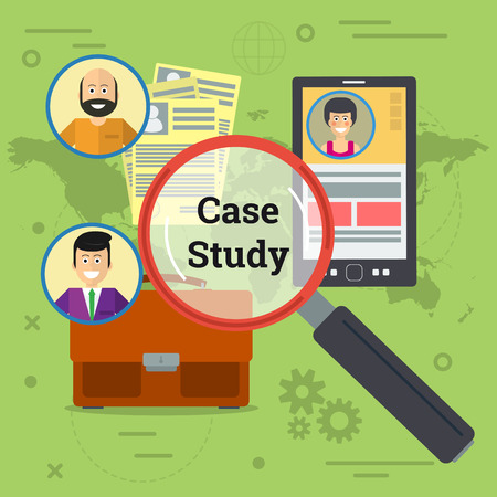 Vector illustration of three person in world with smartphone, documents, business bag and magnifier. Concept of case study in flat style Vettoriali