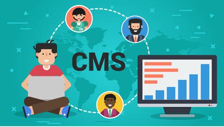 벡터 가로 배너입니다. 콘텐츠 관리 시스템의 개념 - CMS를. 컴퓨터와 랩톱을 사용하는 남성과 전 세계 3 명의 아바타
