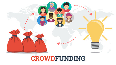 Vector crowdfunding technology concept. New business model. Good project idea, funding by crowd, receiving a profit