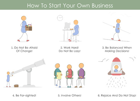 teamwork cartoon: Vector infographic in hand drawing doodle style. How To Start Your Business. Six icons steps. Concept of startup, hard work, teamwork, importance of balance and reward for efforts