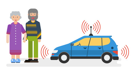 Vector horizontal illustration of car with satellite control for the elderly couple. Autonomous driverless taxi in flat style. Future innovations Illustration